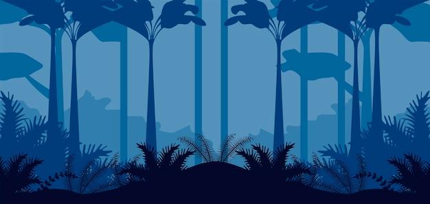 Джунгли дикая природа синий пейзаж сцена