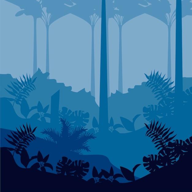 Джунгли дикая природа синий пейзаж