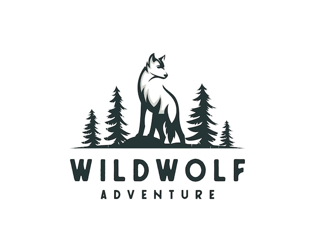 Jungle wolf logo, outdoor hunter logo