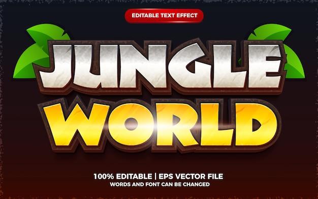ジャングルの世界の編集可能なテキスト効果3d漫画ゲームテンプレートスタイル