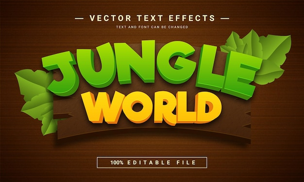 Jungle world editable text effect template