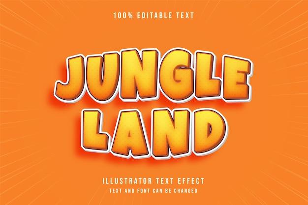 ジャングルランド、3 d編集可能なテキスト効果黄色のグラデーションオレンジコミックスタイル
