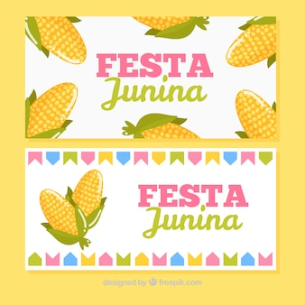 Junin festive banners with corn cobs