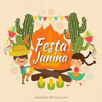 Junina party background with couple dancing and cactus
