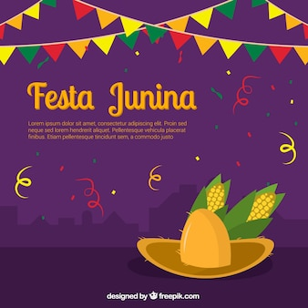 Junina party decoration background with hat and corn