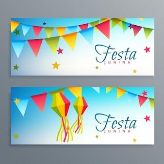 Феста junina бразильские фестиваль баннеры