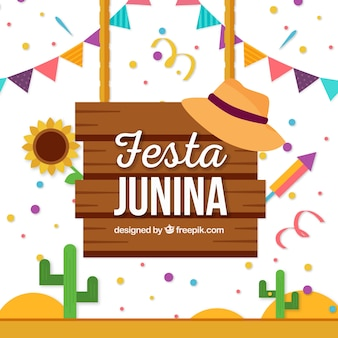 Феста junina плакат фон с элементами