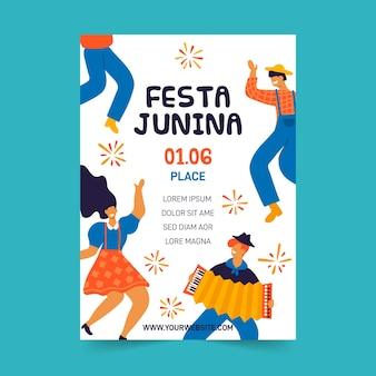 Плоский дизайн феста junina постер шаблон темы