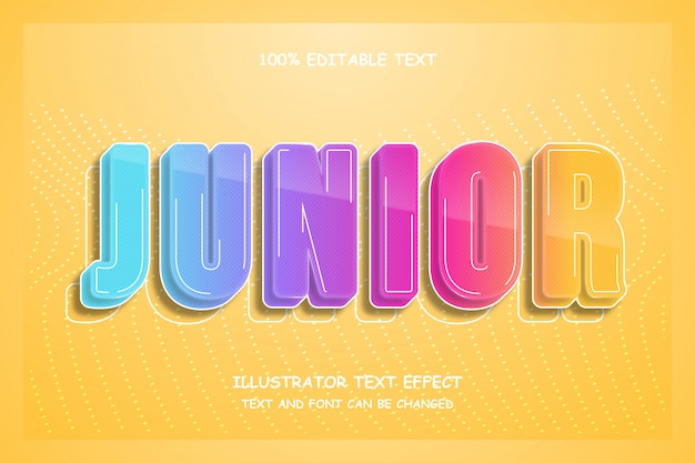 Junior,3d editable text effect modern comic style