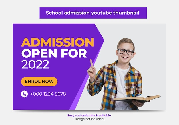 Junior admission school education youtube thumbnail design and web banner