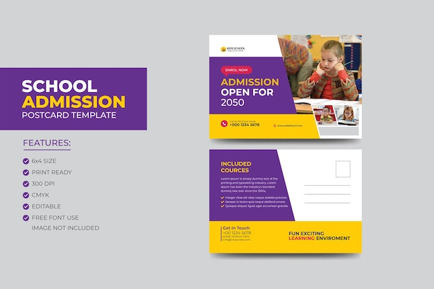 Шаблон оформления открытки eddm для поступления в начальную школу для детей.