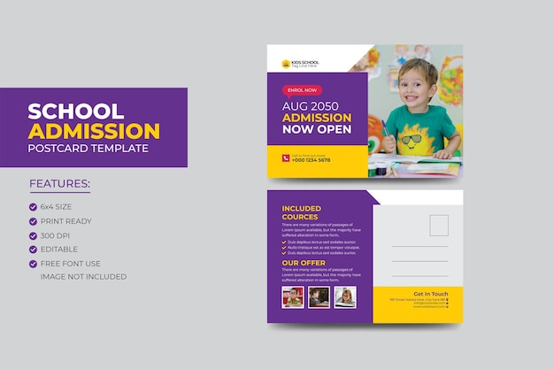 어린이를위한 주니어 학교 교육 입학 eddm 엽서 디자인 템플릿.