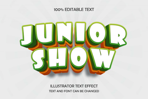 Junior show,3d editable text effect green yellow modern shadow comic style
