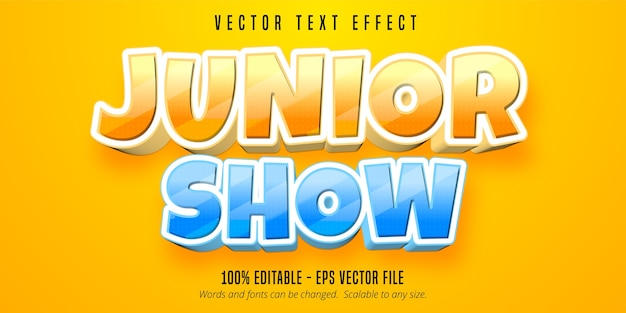 Junior show text, cartoon style editable text effect