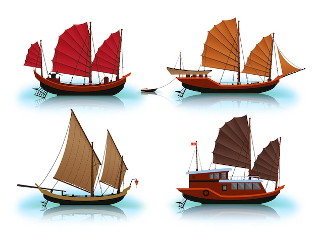 Junk boat designs in different colors