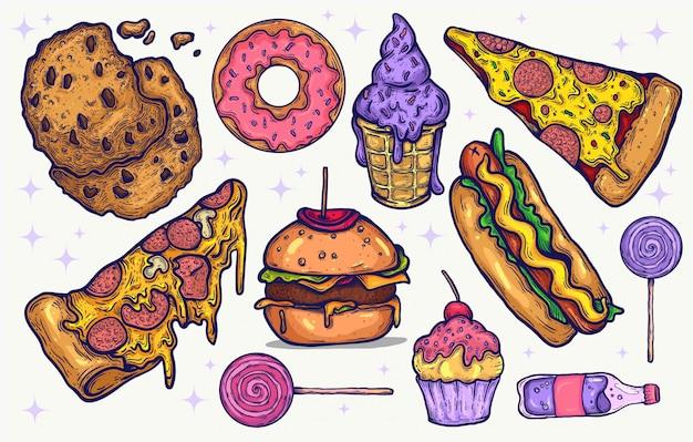 Нездоровая пища и конфеты конфеты рисованной изолированных клипарт элементы для проектов графического дизайна. иллюстрированные вкусные иконки еды и конфеты, цвета каваи, яркие сладкие лакомства. пицца, гамбургеры.
