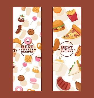 Баннеры нездоровой пищи реклама на сайте уличного кафе или страница доставки еды