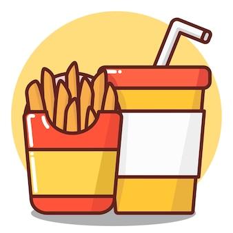 정크 푸드, 콤보, 세트, 소다, 탄산수와 함께 골판지 상자에 감자 튀김.