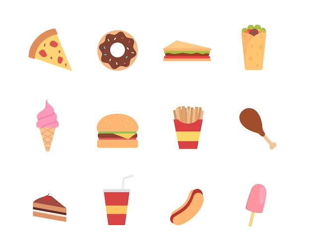 Junk food icon in flat style design