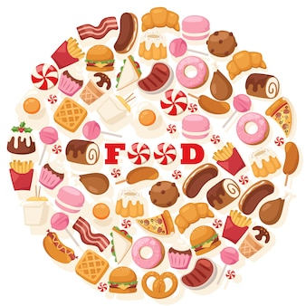 Junk food icons in round frame composition