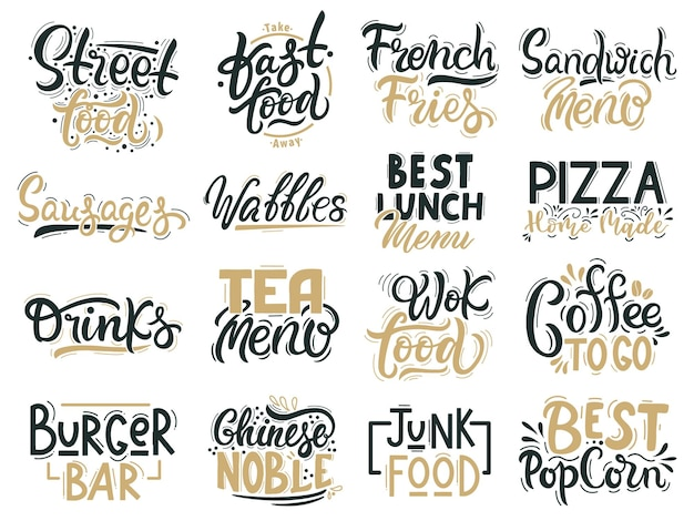 Junk food quotes. fast food, junk and street food lettering, beverages and food hand drawn badges
