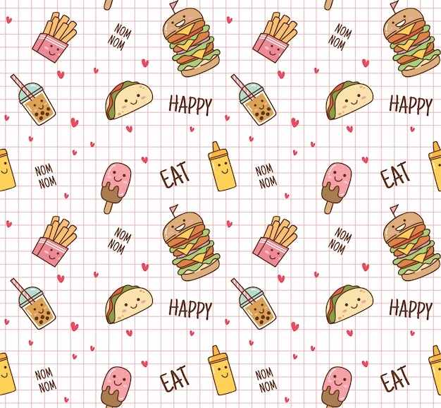 Junk food seamless background