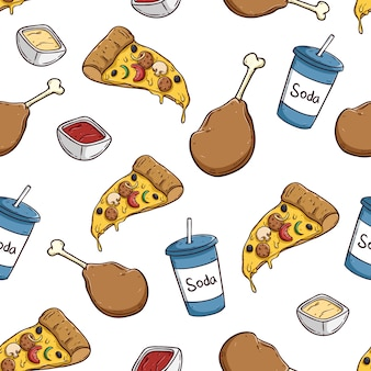 Junk food seamless pattern with pizza soda and chicken leg