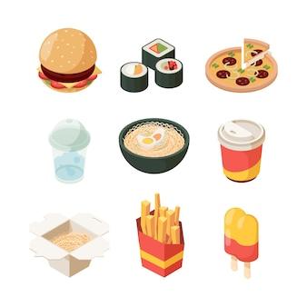 ジャンクフード。不健康な製品ハンバーガーピザホットドッグファーストフードアイソメトリック写真ファストランチ。ピザとハンバーガー、寿司とおいしいフライドポテトのイラスト