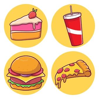 Нездоровая еда векторные иллюстрации пакет сбора векторные иллюстрации с изолированным фоном