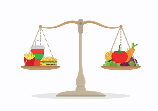 Junk food and vegetables balance on the scale.
