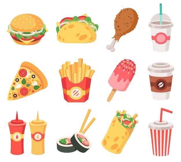 ジャンクストリートフード。ファーストフード、落書きの持ち帰り用の食品やスナック、フライドポテト、コーヒー、ピザ。高カロリーのジャンクフードのアイコンを設定します。ピザとブリトーのハンバーガー、ソーダのファーストフードのイラスト