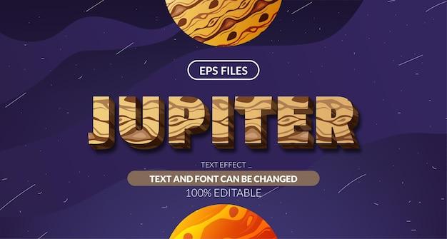 Юпитер планета космическая астрология 3d редактируемый текстовый эффект. векторный файл eps