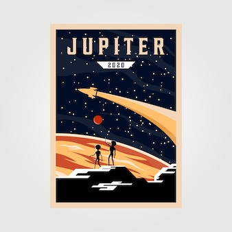Jupiter poster illustration, space vintage poster illustration design
