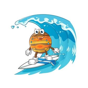 波のキャラクターでサーフィンする木星