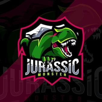 ジュラ紀のモンスターのマスコットのロゴ