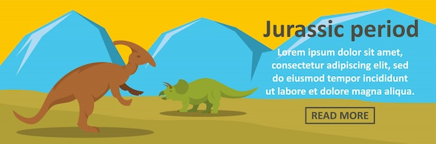 Jurassic period banner template horizontal concept