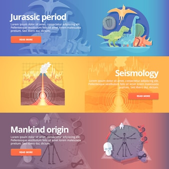 쥬라기 시대. 공룡 시대. 지진학. 화산 폭발. 인류 기원. 인류학. 생명의 과학. 지진 공부. 교육 및 과학 배너 세트. 개념.