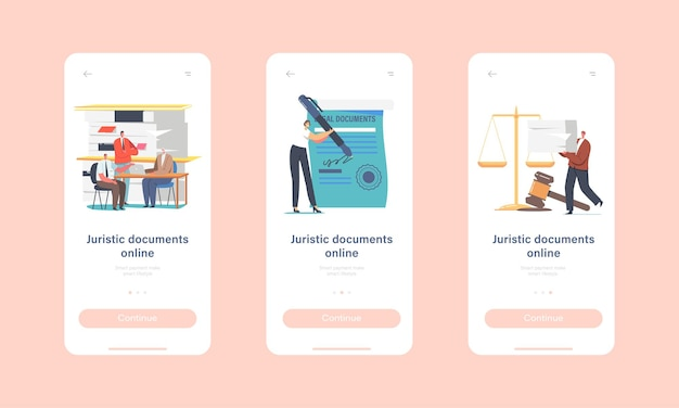 Juristic docs, notary professional service mobile app page onboard screen template. male female characters visit lawyer office for signing legal documents concept. cartoon people vector illustration
