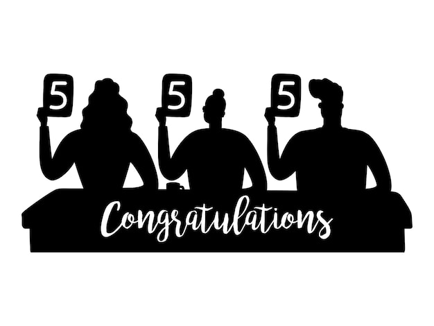Jury silhouettes gave the highest marks illustration. judging silhouette and sign congratulations