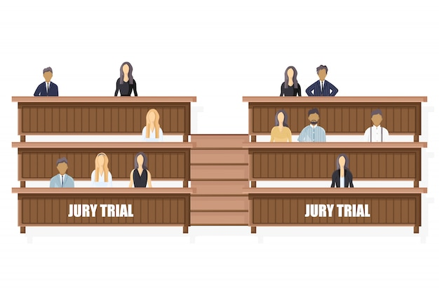 Jury trial flat style. law order brochure template