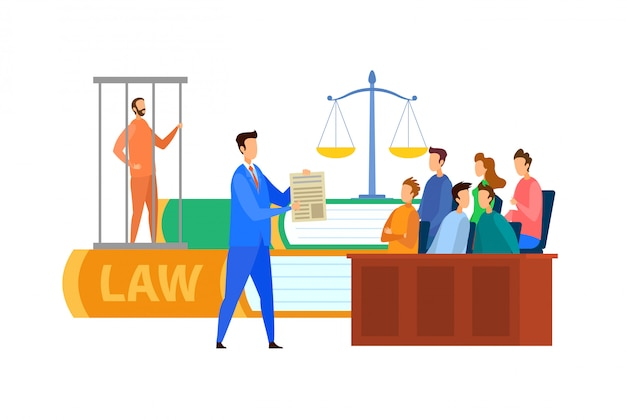 Jury trial process cartoon vector illustration