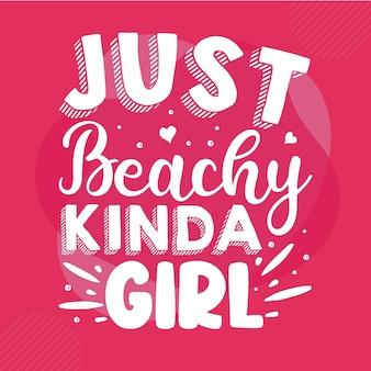 그냥 해변 좀 여자 타이 포 그래피 프리미엄 벡터 디자인 견적 템플릿