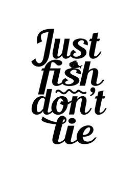 Просто рыба, не лгите, текст в рисованной типографии плакат