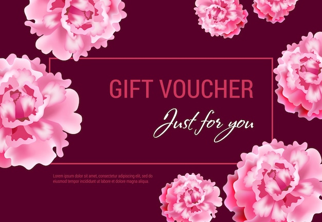 당신을 위해 vinous 배경에 분홍색 꽃과 프레임 선물 바우처.