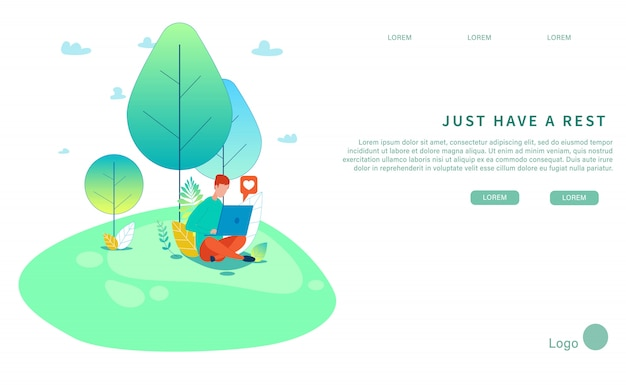 Just have rest natural design flat landing page