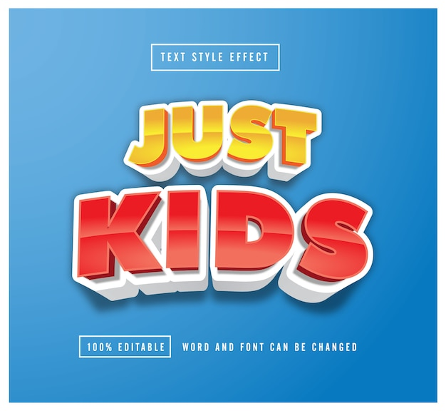Just kids style text effect editable