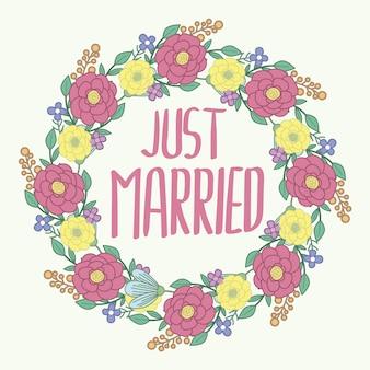 Solo sfondo sposato con corona di fiori