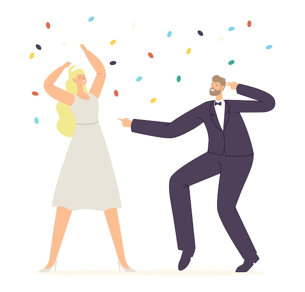 Just married bride and groom characters dance, happy newlywed couple perform wedding dancing during celebration concept. marriage ceremony, husband and wife fun. cartoon people vector illustration