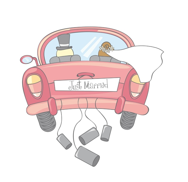 Just married car isolated vintage vector illustration