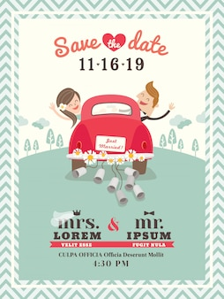 Just married car wedding invitation